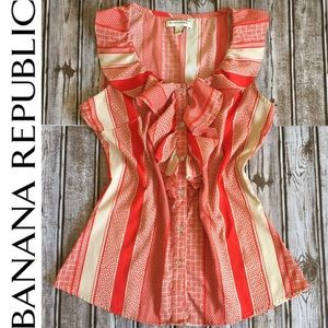 Banana Republic • Sleeveless Ruffle Button Front